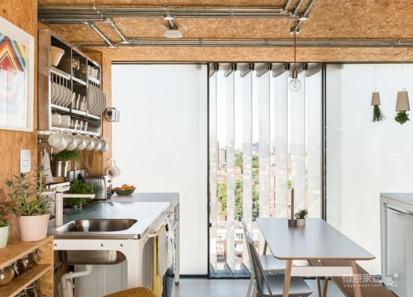 甘蔗板原来能这样用!伦敦53㎡工业风顶楼公寓图_3