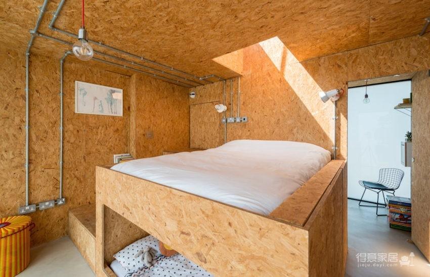 甘蔗板原来能这样用!伦敦53㎡工业风顶楼公寓图_10