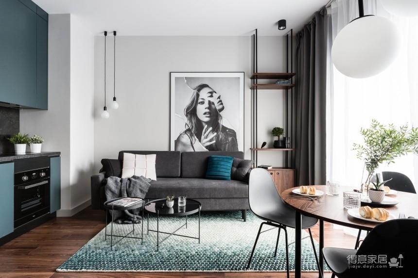 波兰38㎡单身小公寓设计,灰与黑的惊艳碰撞