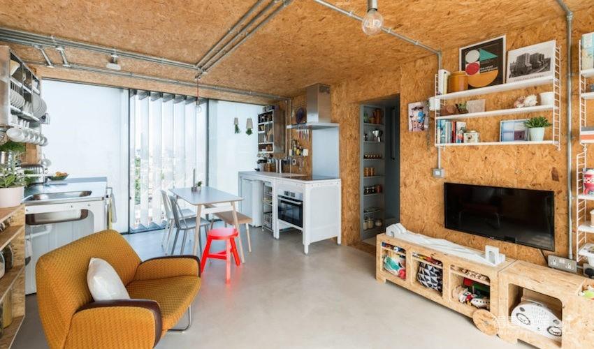 甘蔗板原来能这样用!伦敦53㎡工业风顶楼公寓图_1