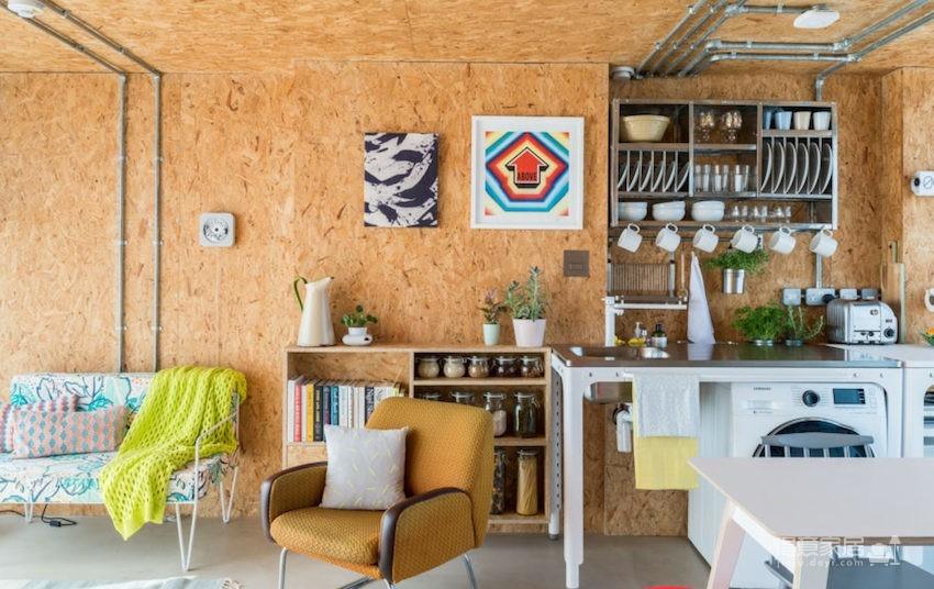 甘蔗板原来能这样用!伦敦53㎡工业风顶楼公寓图_4