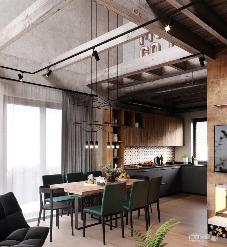 白俄罗斯温暖的工业风格住宅设计图_5