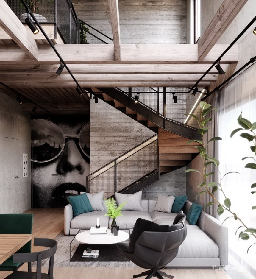 白俄罗斯温暖的工业风格住宅设计图_2