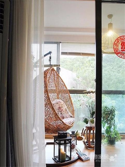 100㎡中式三居室 现代中式家居布置