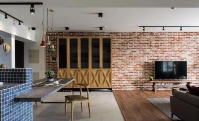 132㎡现代四房,红砖电视墙,活力大胆好质感