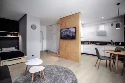 45㎡单身小公寓,开放式的空间,自在的小窝