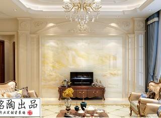 双柱弧线罗马柱+高温烧电视背景墙
