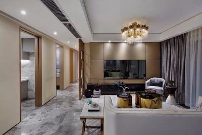 用不同质感的元素,打造了一个时尚、现代、摩登的轻奢主义空间。
