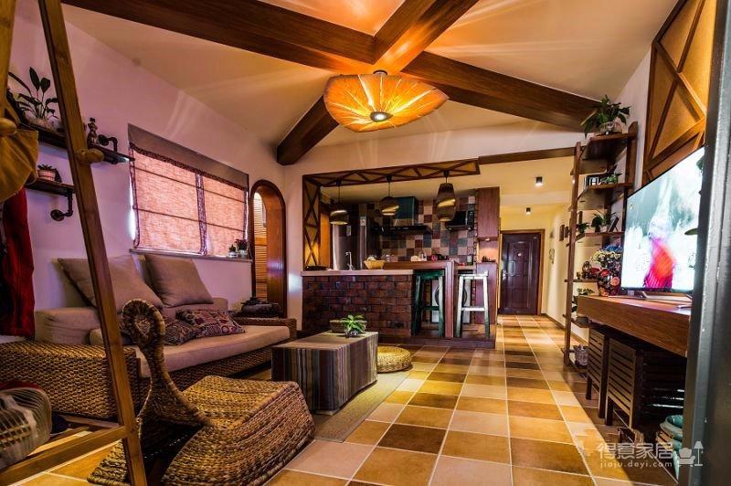 58平东南亚风格单身公寓《隐这里》图_3