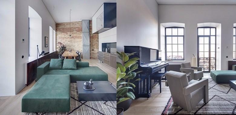 74㎡的空间通过建造夹层,扩大空间上方的利用率,让室内看起来更加的宽敞舒适。