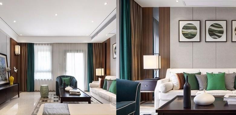 128㎡新中式风,客厅整体以沉稳的灰褐色为主,挂画成为整个客厅的点睛之笔!