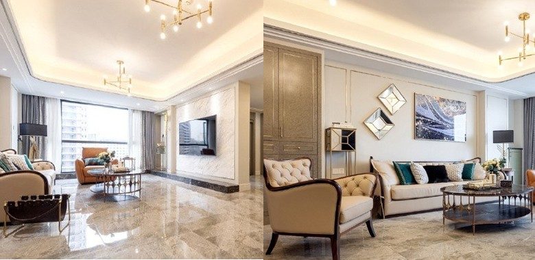 180㎡现代轻奢家,墙面镶嵌香槟金线条,搭配孔雀蓝绒布,将惬意生活与精准设计共融! 