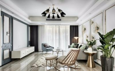 现代前卫的三居室装修,烟灰蓝与金色完美配合,有效提升了居室格调! 