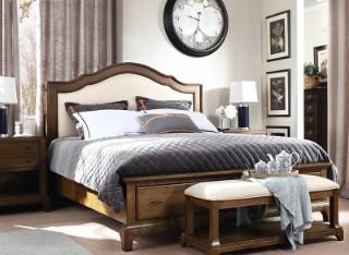 宽邸美式实木腿床1.5米1.8米布艺软包储物卧室家具双人大婚床507