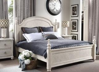 宽邸Seattle美式乡村实木腿床简约白色复古双人婚床1.8米主卧S092