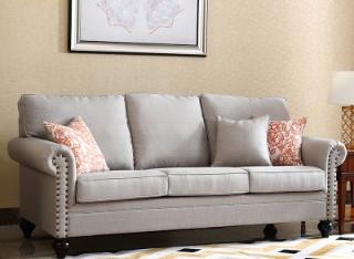 宽邸 美式布艺棉麻铆钉沙发客厅休闲简约123组合整装小户型0654