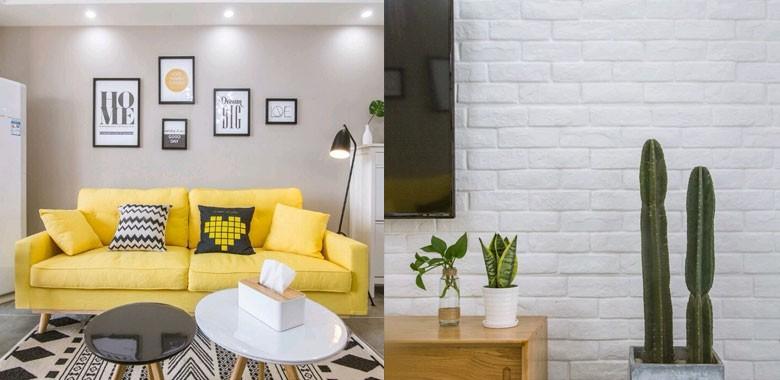 97㎡北欧风,断舍离小屋给家一点自由呼吸的空间。亮黄色尤为显眼!