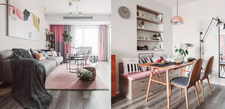 在软装中融入了粉色,整个家看起来特别的暖心!浅色调下搭配原木色和绿植,自然又有活力!