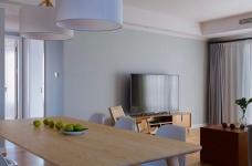 三室一厅北欧轻奢原木餐桌图_10