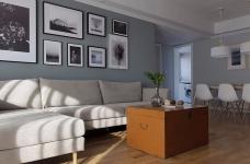 三室一厅北欧轻奢原木餐桌图_4