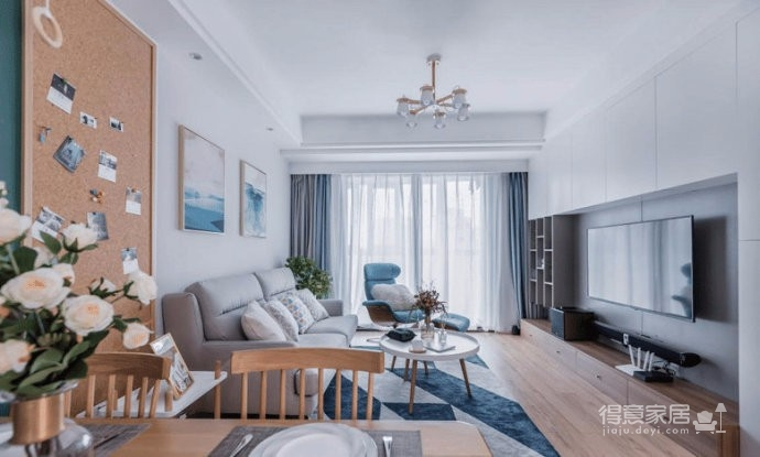 80㎡北欧风二居室,休闲清新的空间给人一种惬意舒适的感觉!