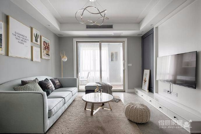 清新细腻北欧风格三居室装修,蓝色调的简约自然之美! 图_1