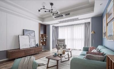 清新细腻北欧风格三居室,蓝色调的简约自然之美! 