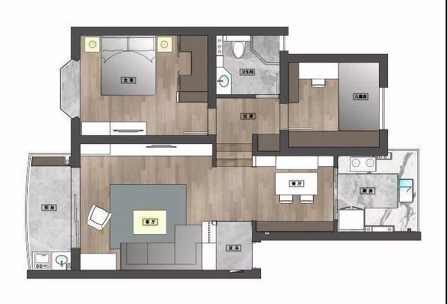 110m²混搭风三口之家,卡座餐厅实用又美观图_5