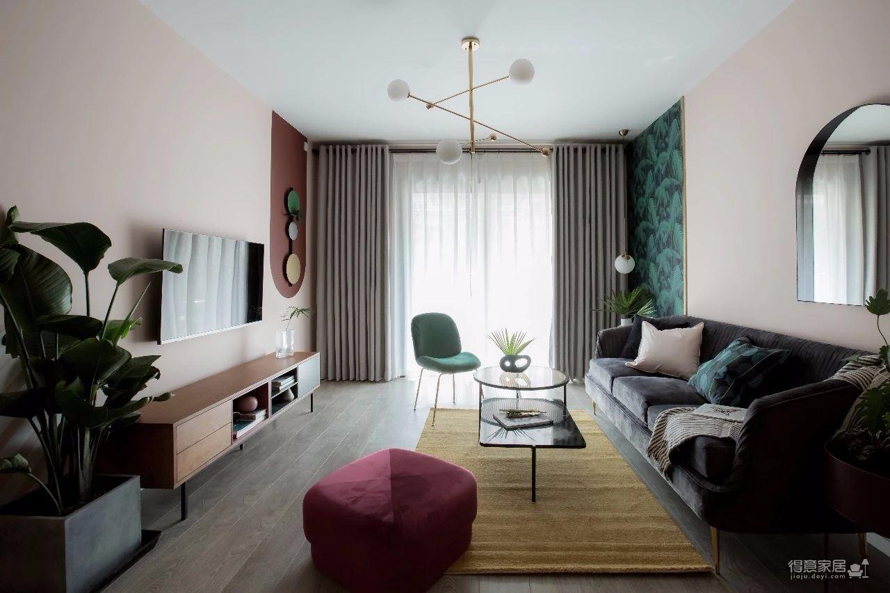 100㎡混搭风格装修,大胆的色彩搭配,打造前卫艺术家居空间 !图_1