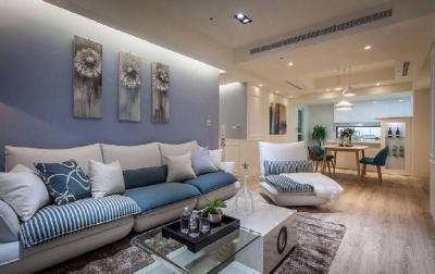 102㎡蓝白·现代简约风格三居室,完整的收纳空间!