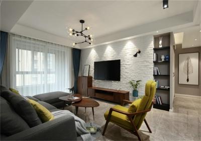 凯德悦湖112平三居室北欧风格装饰效果图