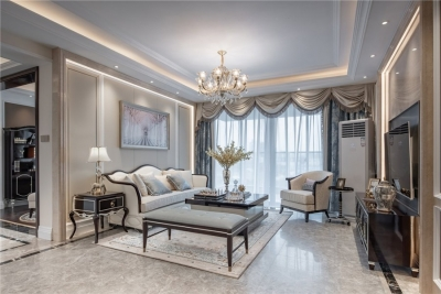 汉口御江澜庭113平三居室欧式风格装饰效果图