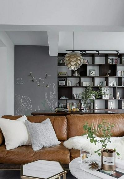 86㎡清新文艺两居室,书房的地台漂亮又实用!