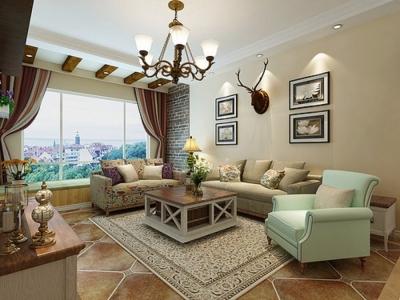 保利清能西海岸108平三居室美式风格装饰效果图