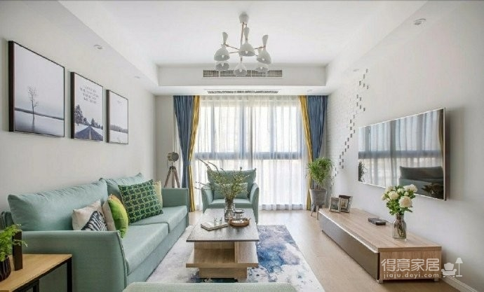 98㎡简约北欧风格家居装修设计,格外自然清新! 图_1