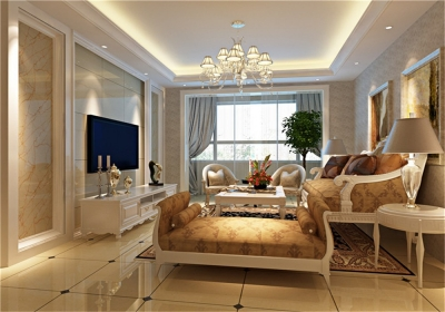 王家湾中央生活区123平三居室简欧风格装饰效果图