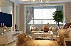 王家湾中央生活区123平三居室简欧风格装饰效果图图_1