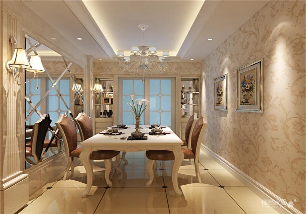 王家湾中央生活区123平三居室简欧风格装饰效果图图_3