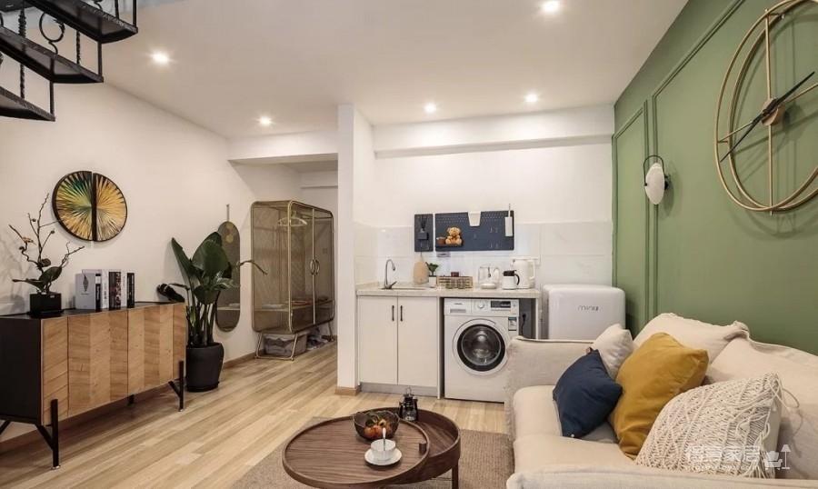 60㎡现代轻奢小公寓,一两人住小复式,日子精致好情趣图_1