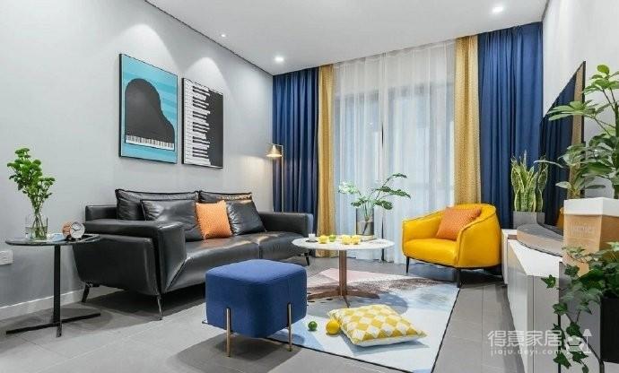 100㎡现代简约风格三居室装修,黑白灰中带一点跳跃色彩! 