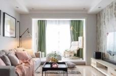 98㎡简约北欧风三居室装修案例,自然清新的舒适之家! 图_1