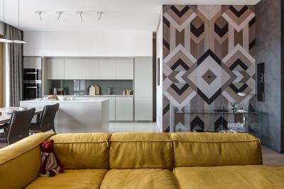 150㎡ 现代简约风,地板拼花上墙真有范