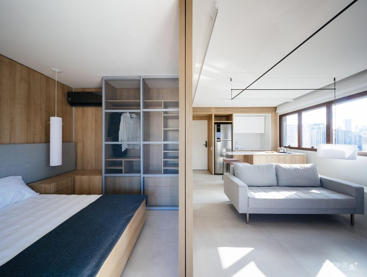 42㎡ 的简约公寓,一道木墙分割了多功能空间图_6