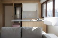 42㎡ 的简约公寓,一道木墙分割了多功能空间图_3