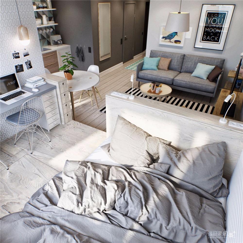 金茂国际公寓45平北欧风图_3