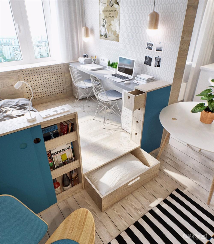 金茂国际公寓45平北欧风图_5