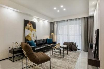 109㎡现代简约三居室装修设计,黑白时尚演绎永恒经典住宅空间