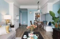 美式风格的装修案例,大面积惬意的蓝,配以唯美不失质感的软装搭配,让家顿时变成一个安心的避风港,将浮华和喧嚣隔绝于门外。图_3
