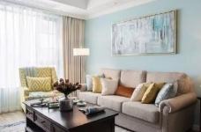 美式风格的装修案例,大面积惬意的蓝,配以唯美不失质感的软装搭配,让家顿时变成一个安心的避风港,将浮华和喧嚣隔绝于门外。图_4