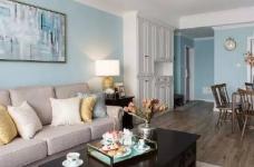 美式风格的装修案例,大面积惬意的蓝,配以唯美不失质感的软装搭配,让家顿时变成一个安心的避风港,将浮华和喧嚣隔绝于门外。图_2